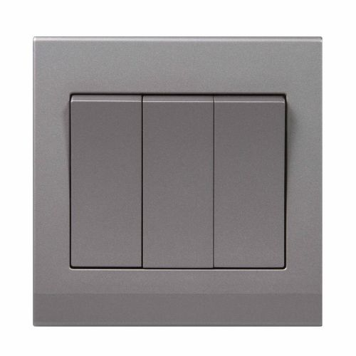 Simplicity Grey Screwless Rocker Light Switch 3 Gang 2 Way 07042